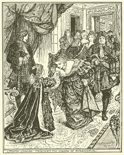 Marie Louise Receives the Visits of Condolence. Illustration for The Book of Princes and Princesses by Mrs Lang (Longmans, 1908).