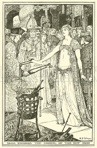 Inga Endures the Ordeal of the Hot Iron. Illustration for The Book of Princes and Princesses by Mrs Lang (Longmans, 1908).