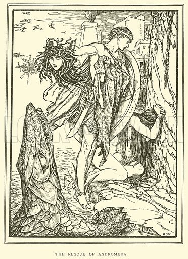 The Rescue of Andromeda. Illustration for Tales of Troy and Greece by Andrew Lang (Longmans, 1907).