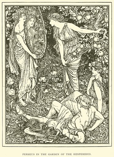 Perseus in the Garden of the Hesperides. Illustration for Tales of Troy and Greece by Andrew Lang (Longmans, 1907).