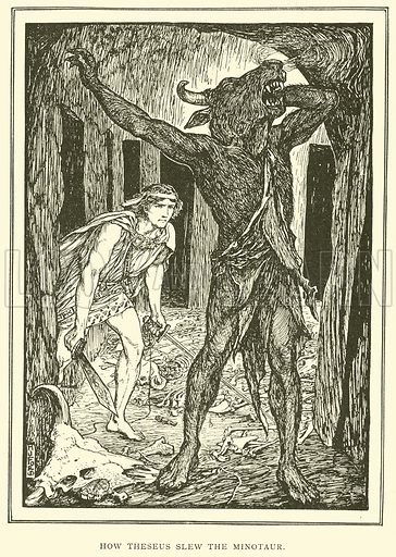 How Theseus Slew the Minotaur. Illustration for Tales of Troy and Greece by Andrew Lang (Longmans, 1907).
