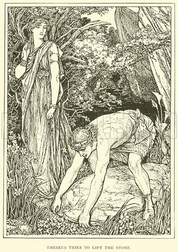 Theseus tries to Lift the Stone. Illustration for Tales of Troy and Greece by Andrew Lang (Longmans, 1907).