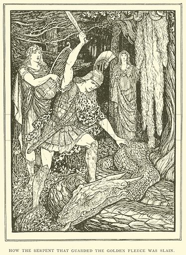 How the Serpent that Guarded the Golden Fleece was Slain. Illustration for Tales of Troy and Greece by Andrew Lang (Longmans, 1907).