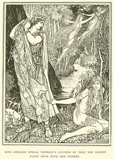 King Athamas Steals Nephele's Clothes so that she cannot Float away with her Sisters. Illustration for Tales of Troy and Greece by Andrew Lang (Longmans, 1907).