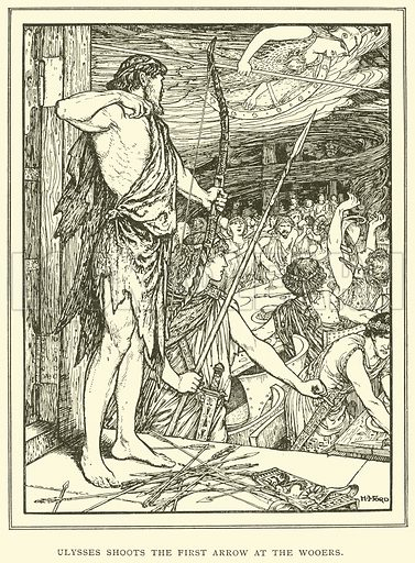 Ulysses Shoots the First Arrow at the Wooers. Illustration for Tales of Troy and Greece by Andrew Lang (Longmans, 1907).