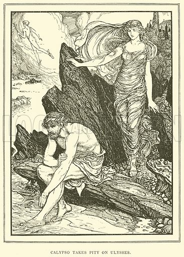 Calypso takes Pity on Ulysses. Illustration for Tales of Troy and Greece by Andrew Lang (Longmans, 1907).