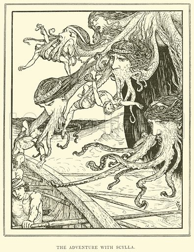 The Adventure with Scylla. Illustration for Tales of Troy and Greece by Andrew Lang (Longmans, 1907).