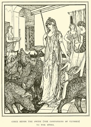 Circe sends the Swine (The Companions of Ulysses) to the Styes. Illustration for Tales of Troy and Greece by Andrew Lang (Longmans, 1907).