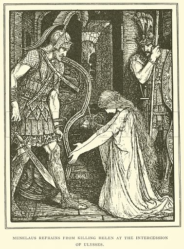 Menelaus Refrains from Killing Helen at the Intercession of Ulysses. Illustration for Tales of Troy and Greece by Andrew Lang (Longmans, 1907).