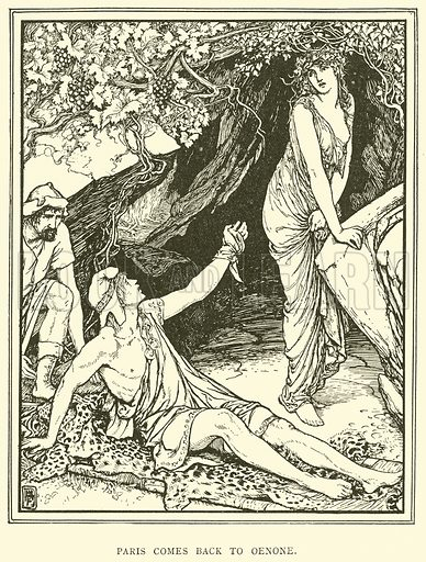 Paris comes back to Oenone. Illustration for Tales of Troy and Greece by Andrew Lang (Longmans, 1907).