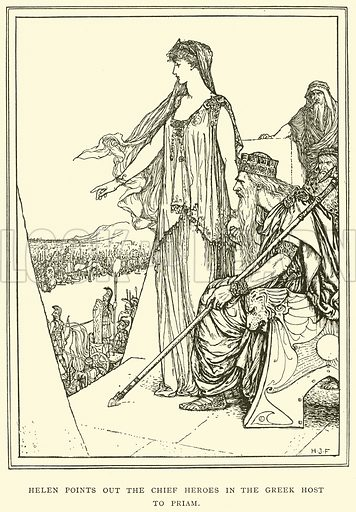 Helen Points out the Chief Heroes in the Greek Host to Priam. Illustration for Tales of Troy and Greece by Andrew Lang (Longmans, 1907).