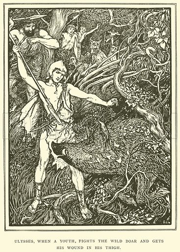 Ulysses, when a Youth, Fights the Wild Boar and gets his Wound in his Thigh. Illustration for Tales of Troy and Greece by Andrew Lang (Longmans, 1907).