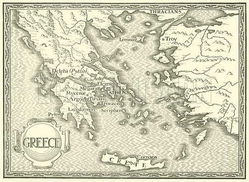 Map of Greece. Illustration for Tales of Troy and Greece by Andrew Lang (Longmans, 1907).