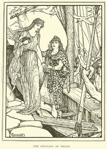 The Stealing of Helen. Illustration for Tales of Troy and Greece by Andrew Lang (Longmans, 1907).
