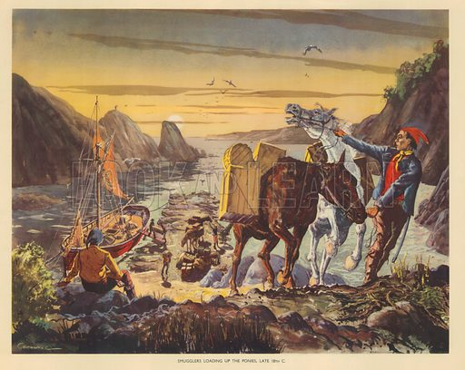 Smugglers loading up the ponies late 18th Century. Macmillan poster.