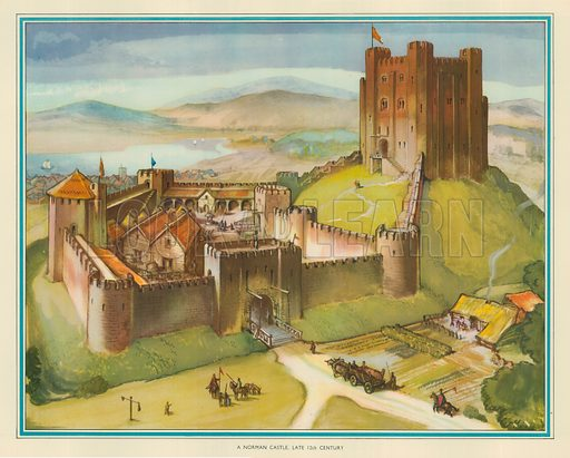 A Norman Castle late 12th Century. Macmillan poster.