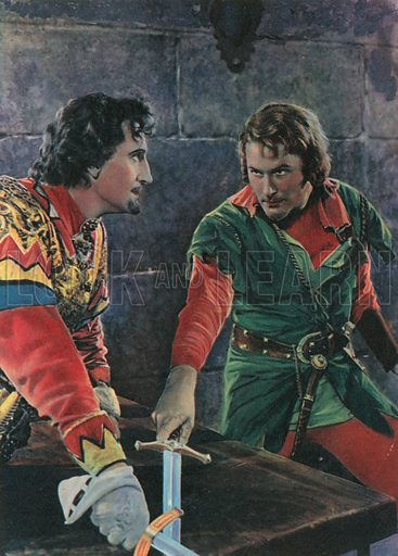 "Face to Face at Last: Sir Guy of Gisbourne and Robin Hood. Illustration for The Adventures of Robin Hood (Ward Lock, c 1940). Studio stills from the First National Pictures' Technicolour Production ""The Adventures of Robin Hood""."