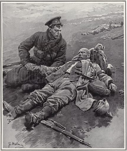 'The fighting spirit of the British' – an incident on the battlefield. Published on the cover of The Sphere, 13 February 1915.