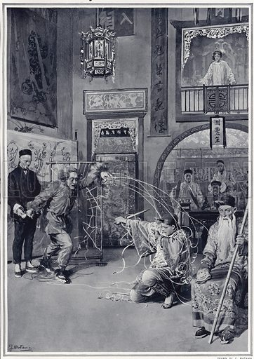 The Chinese play at the Duke of York's Theatre: the spider entangling the hero in his net in act III of 'The Yellow Jacket'. Published in The Sphere, 12 April 1913.