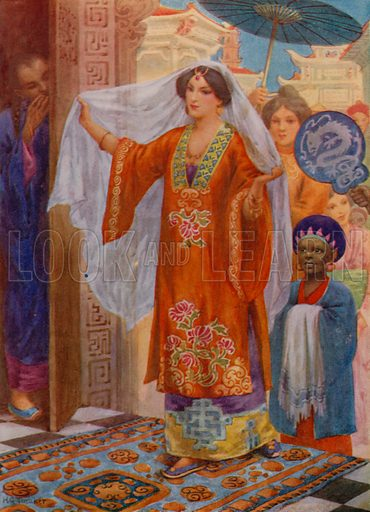 The Princess on her way to Bath. Illustration for Children's Stories from the Arabian Nights (Raphael Tuck, c 1910).