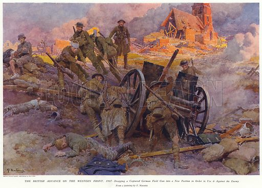 The British Advance on the Western Front, 1917. Dragging a captured German field gun into a new position in order to use it against the enemy. Published in The Sphere, 26 May 1917. From a painting by Fortunino Matania.