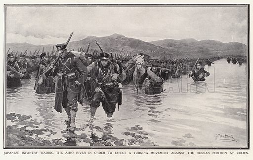 Japanese infantry wading the Aiho River in order to effect a turning movement against the Russian position at Kulien. Illustration for Japan's Fight for Freedom by HW Wilson (Amalgamated Press, 1904).