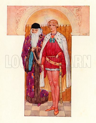 Merlin with Galahad by his side. Illustration for Stories of King Arthur (Ward Lock, c 1910).