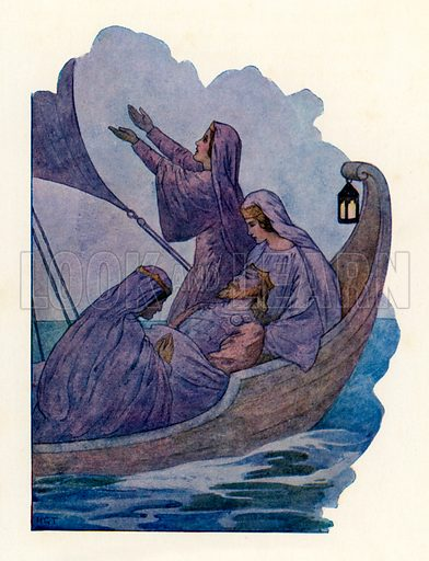 The Passing of King Arthur. Illustration for Stories of King Arthur (Ward Lock, c 1910).