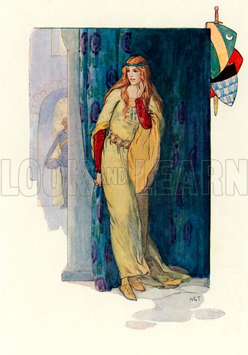 The dumb maiden rose hiding herself behind a curtain. Illustration for Stories of King Arthur (Ward Lock, c 1910).