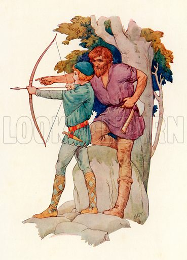 Young Lancelot being taught archery by the woodman. Illustration for Stories of King Arthur (Ward Lock, c 1910).