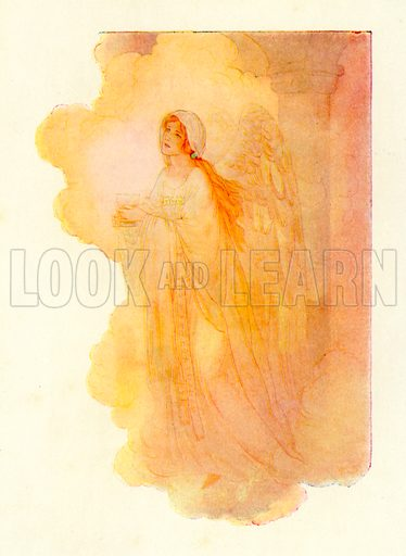 A slim and beautiful lady appearing in the golden light. Illustration for Stories of King Arthur (Ward Lock, c 1910).
