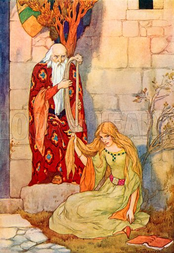 Merlin playing his harp with Fairy Nimue. Illustration for Stories of King Arthur (Ward Lock, c 1910).
