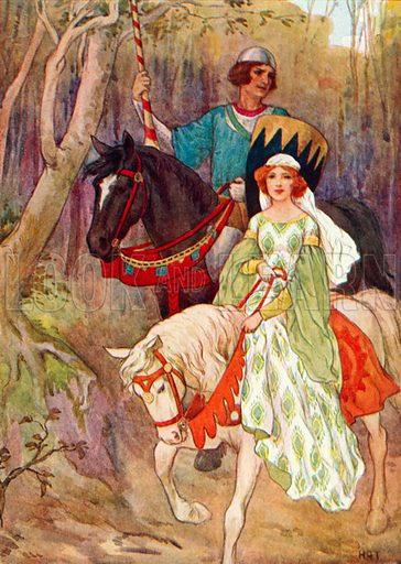 Princess Olwen accompanied by the Pig-sty Prince. Illustration for Stories of King Arthur (Ward Lock, c 1910).