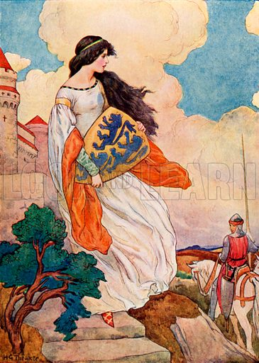 The Princess Iseult with the shield of Sir Tristram of Lyonesse. Illustration for Stories of King Arthur (Ward Lock, c 1910).
