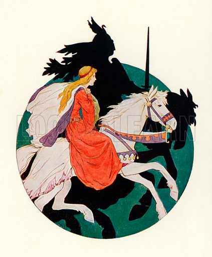 The Black Knight rides away with the maiden. Illustration for Stories of King Arthur (Ward Lock, c 1910).