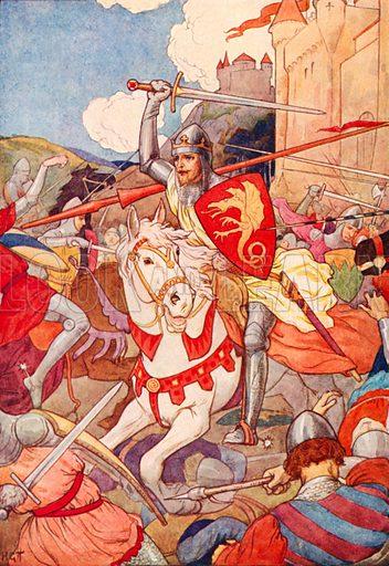 The strange Knight with sword flashing. Illustration for Stories of King Arthur (Ward Lock, c 1910).