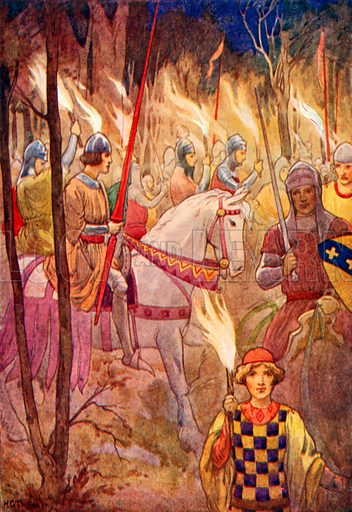 Procession of Knights with torches. Illustration for Stories of King Arthur (Ward Lock, c 1910).