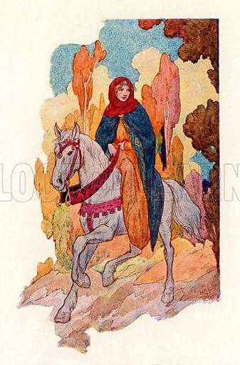Princess Guinevere riding. Illustration for Stories of King Arthur (Ward Lock, c 1910).