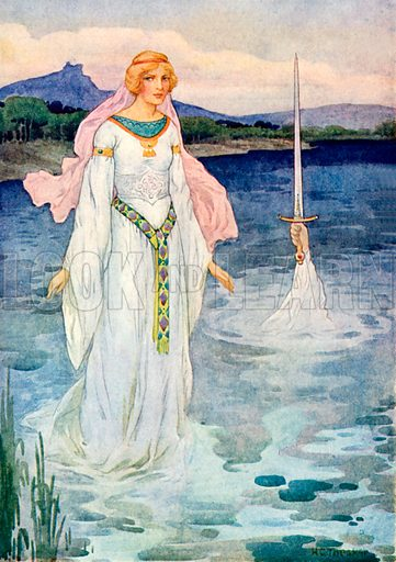 The sword and the Lady of the Lake. Illustration for Stories of King Arthur (Ward Lock, c 1910).