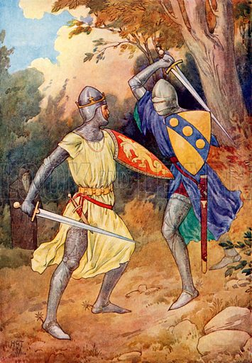 King Arthur fights with the stranger Knight. Illustration for Stories of King Arthur (Ward Lock, c 1910).