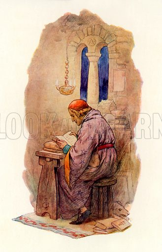 Merlin reading. Illustration for Stories of King Arthur (Ward Lock, c 1910).