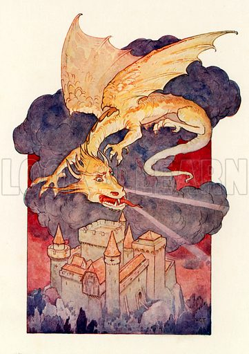 """The dragon spread out those wings and hung, poised, above the castle."" Illustration for Stories of King Arthur (Ward Lock, c 1910)."