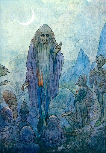 Merlin. Illustration for Stories of King Arthur (Ward Lock, c 1910).