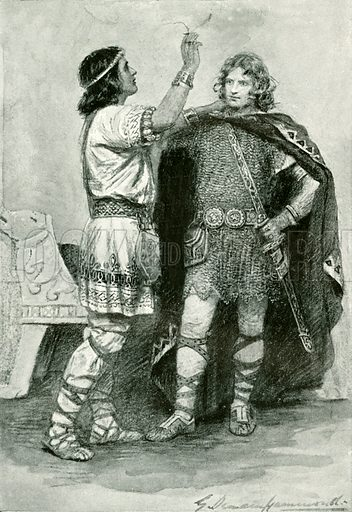 Hereward and Sigtrygt. Illustration for Hero-Myths and Legends of the British Race by M I Ebbutt (Harrap, 1916).