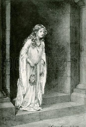 Alftruda. Illustration for Hero-Myths and Legends of the British Race by M I Ebbutt (Harrap, 1916).