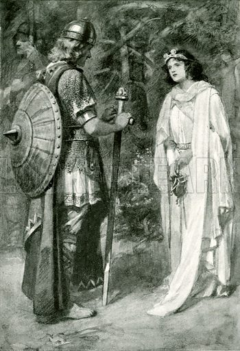 Hereward and the Princess. Illustration for Hero-Myths and Legends of the British Race by M I Ebbutt (Harrap, 1916).