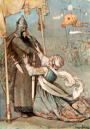 Aude the Fair. Illustration for Hero-Myths and Legends of the British Race by MI Ebbutt (Harrap, 1916).