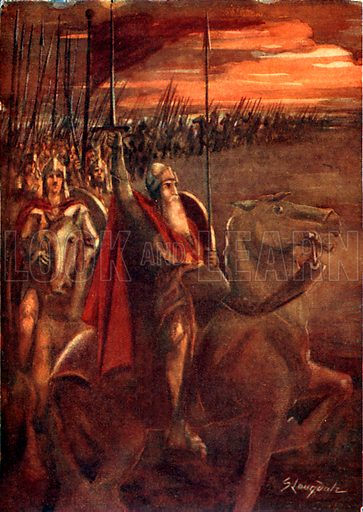 Charlemagne. Illustration for Hero-Myths and Legends of the British Race by M I Ebbutt (Harrap, 1916).