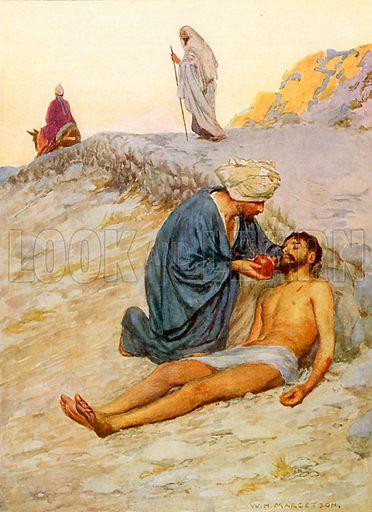 The Good Samaritan. Illustration from Child's Bible (Cassell, c 1900).