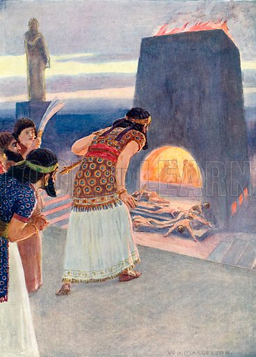 The fiery furnace. Illustration from Child's Bible (Cassell, c 1900).